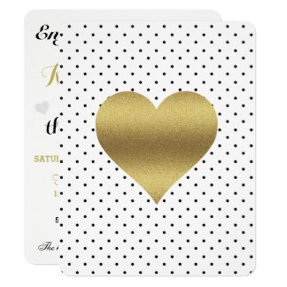 White And Gold Heart & Polka Dot Party Invitation