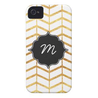 White and Gold Herringbone Quatrefoil iPhone 4 Case