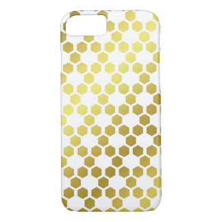 White and Gold Hexagon Geometric Pattern iPhone 8/7 Case