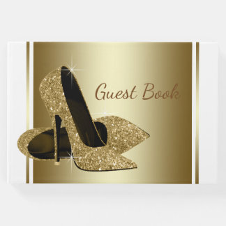 White and Gold High Heel Shoe Guest Book