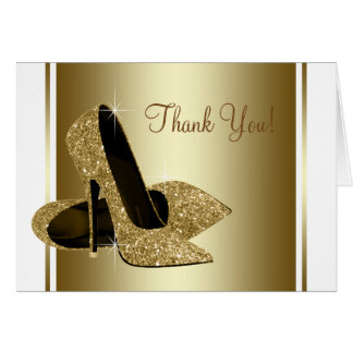 White and Gold High Heel Shoe Thank You Cards