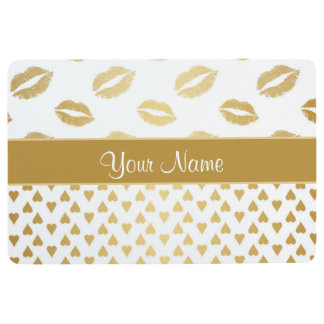 White and Gold Kisses and Love Hearts Floor Mat