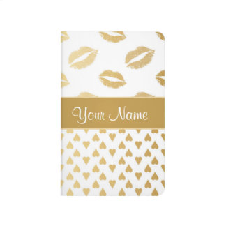 White and Gold Kisses and Love Hearts Journal