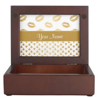 White and Gold Kisses and Love Hearts Keepsake Box
