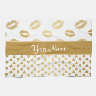 White and Gold Kisses and Love Hearts Kitchen Towel