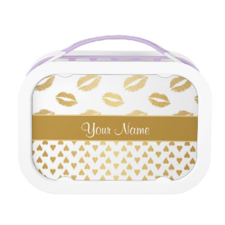 White and Gold Kisses and Love Hearts Lunch Box