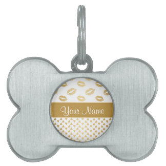 White and Gold Kisses and Love Hearts Pet ID Tag