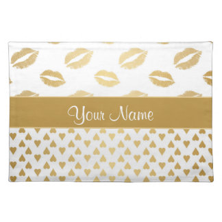 White and Gold Kisses and Love Hearts Placemat