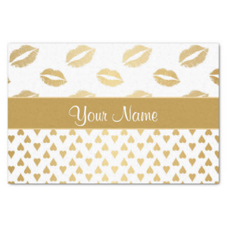 White and Gold Kisses and Love Hearts Tissue Paper