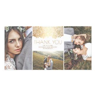 White and Gold Lace Wedding Thank You Photo Card
