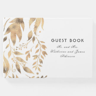 White and Gold Leaves Elegant Fall Wedding Guest Book