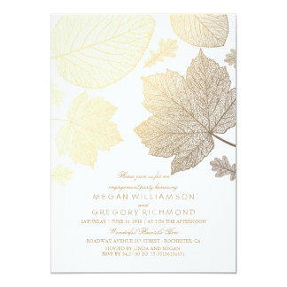 White and Gold Leaves Fall Engagement Party Card