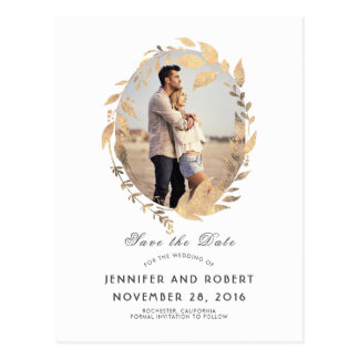 White and Gold Leaves Fall Save the Date Postcard