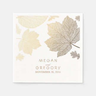 White and Gold Leaves Fall Wedding Disposable Napkins