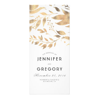 White and Gold Leaves Fall Wedding Programs