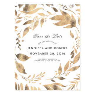 White and Gold Leaves Wreath Save the Date Postcard