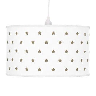 White and Gold Look Stars Pattern Festive Elegant Pendant Lamp