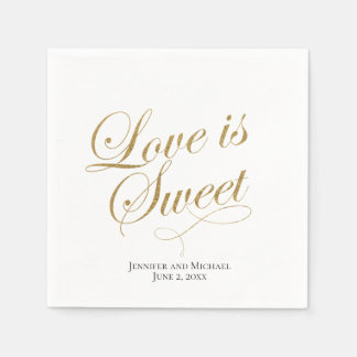 White and Gold Love is Sweet Napkin