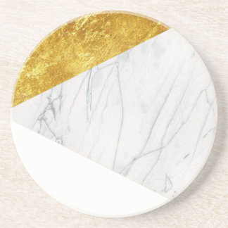 White and Gold Marble Coaster