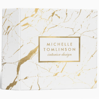 White and Gold Marble Designer Personalized 3 Ring Binder