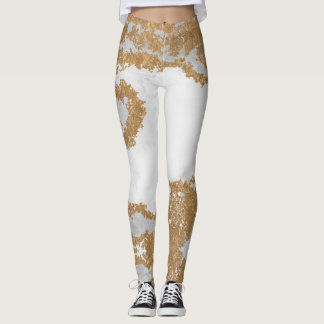 White and Gold Marble Leggings