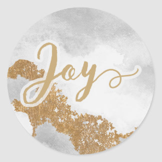 White and Gold Marble Modern holiday Classic Round Sticker
