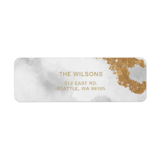 White and Gold Marble Modern holiday Return Address Label