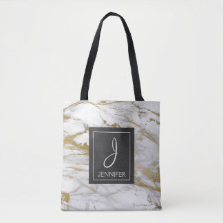 White and Gold Marble Monogram Book Bag