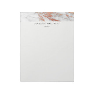White and Gold Marble Notepad