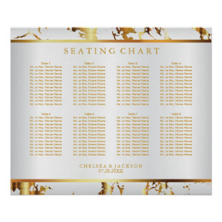 White and Gold Marble - Seating Chart Poster