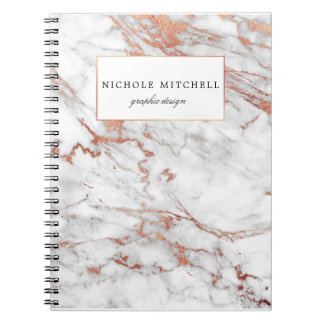 White and Gold Marble Spiral Notebook