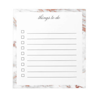 White and Gold Marble To-Do Notepad