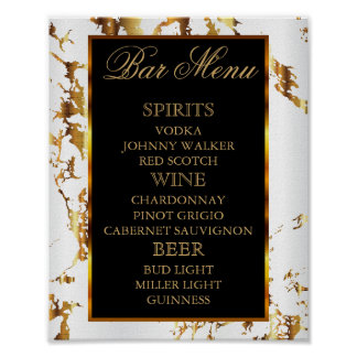 White and Gold Marble with Black - Bar Menu Poster