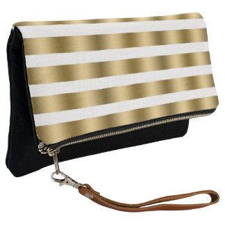 White And Gold Metallic Stripes Clutch