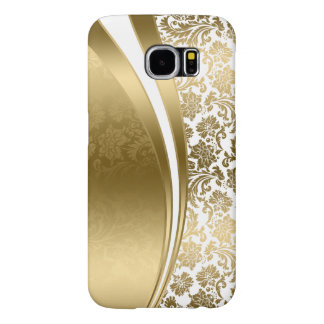 White And Gold Modern Stripes And Damasks Samsung Galaxy S6 Cases