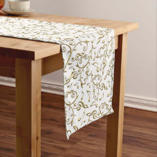 White and Gold Music Notes Floral Table Runner