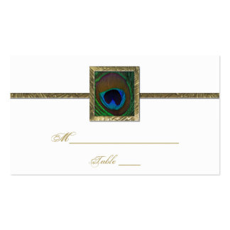 White and Gold Peacock Feather Place Card Business Card Template