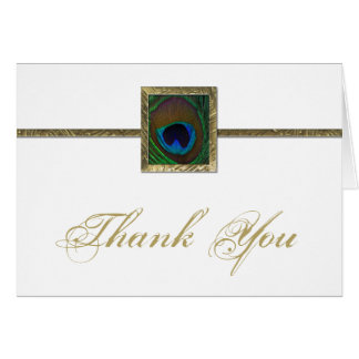 White and Gold Peacock Feather Thank You Card