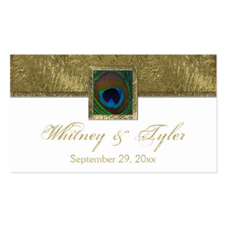 White and Gold Peacock Feather Wedding Favor Tag Business Card Template