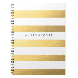 White And Gold Personalized Notebook