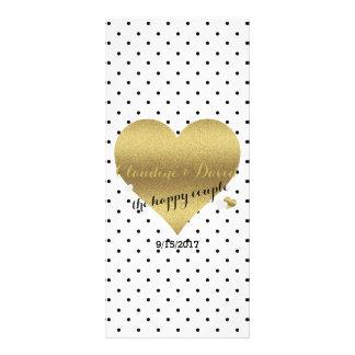 White And Gold Polka Dot Wedding Program Rack Card