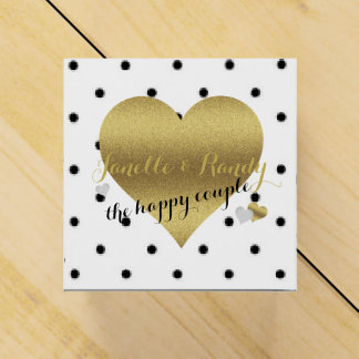 White And Gold Polka Dots Party Favor Boxes