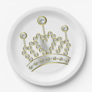 White and Gold Princess Crown 9 Inch Paper Plate