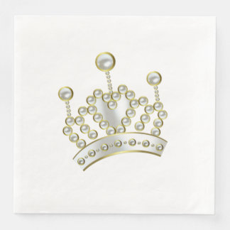 White and Gold Princess Crown Disposable Napkin
