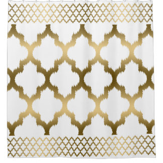 White And Gold Quatrefoil With Border