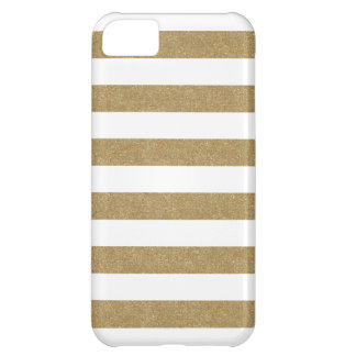 White and Gold Stripes iPhone 5C Case