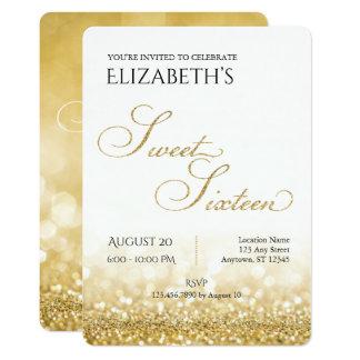 White and Gold Sweet Sixteen Birthday Invitation