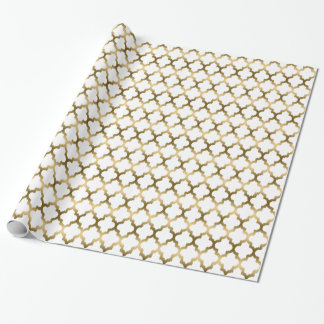 White And Gold Tones Ikat Quatrefoil Pattern Wrapping Paper