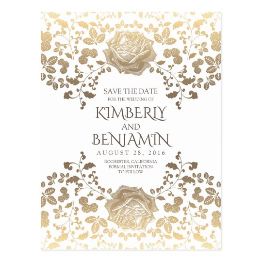 White and Gold Vintage Floral Save the Date Postcard