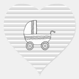 White and Gray Baby Pram. Heart Sticker